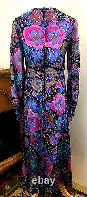 VINTAGE Christian Dior Miss Dior A-Line Dress Blue Floral Print Long Sleeve 10