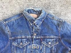 VINTAGE ORIGINAL LEVIS BIG E JACKET 1960s BLANKET LINED Jeans Dark