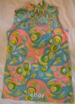 VINTAGE Pastel multi color mini 60s cotton sateen sleeveless a-line dress-Med