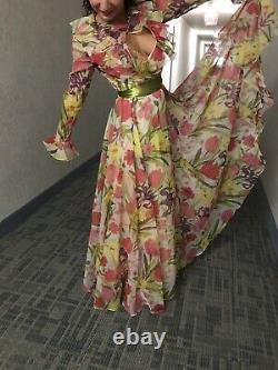 VINTAGE ROGER MILOT for Fred Perlberg WOMENS SEQUIN/PAISLEY SUMMER DRESS S
