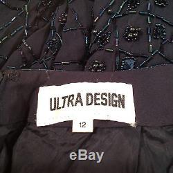 VINTAGE ULTRA DESIGN Iridescent Beaded Navy Jumpsuit Sz 12 Lined Oscar Worthy