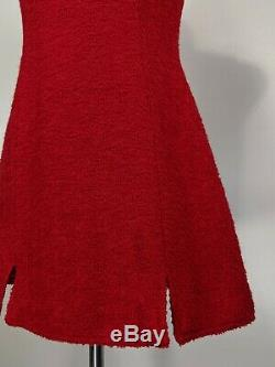 VINTAGE VERSACE JEANS COUTURE Sleeveless Red Textured Mini Sheath Dress Size M