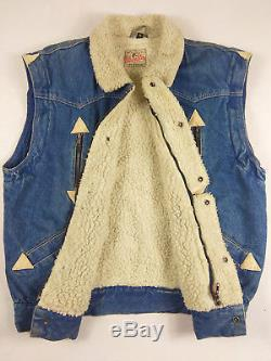 VINTAGE WRANGLER BLUE BELL SHERPA DENIM MEN'S 1950s Size M SHEARLING LINED U. S. A