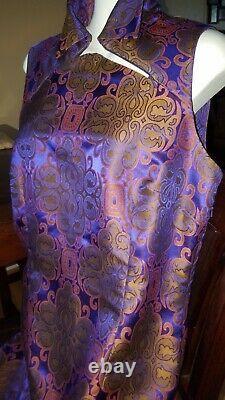 VIVIENNE TAM 90s Vtg 90's Sz 3 Maxi Dress Side Slit Lined Purple Medallion Irred