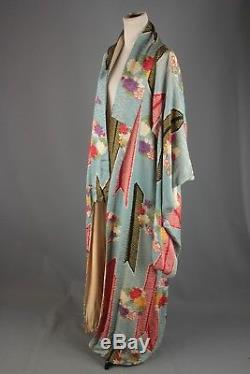 VTG 1930s 1940s Women's Blue Rayon Long Kimono #2166 30s 40s Robe Silk-Lined