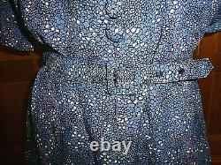 VTG 1940s 40s Abstract Print Shirt Waist A line Skirt Belted Retro DRESS L XL
