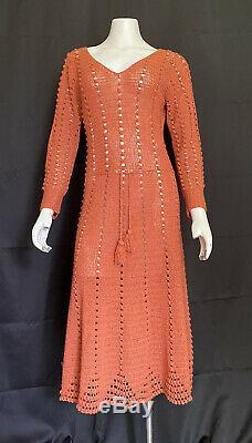 VTG 1940s Hand Crocheted Dress Burnt Orange Long Sleeve Drawstring Waist A-Line