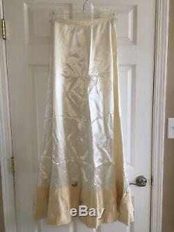 VTG 1940s Silk A-line Ivory Wedding Dress Empire Waist Jewel Neck Chapel Train