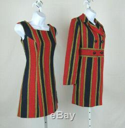 VTG 1960s MOD JOSEPH MAGNIN COLOR BLOCK DRESS & COAT SUIT WOOL BLEND LINED COAT