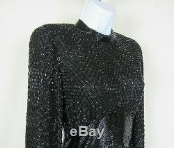 VTG 1980s OLEG CASSINI BLACK TIE BLACK SILK BEADED DRESS FULLY LINED SLIT SIDE