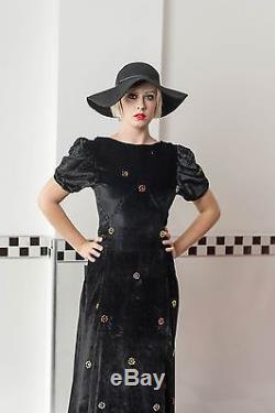 VTG 30's Vintage Velour Bias Cut Empire Line Evening Dress Floral Detail S M