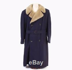 VTG 40s MEN'S Blue Gabardine ALPACA Lined Fur Collar Belted Winter Coat L