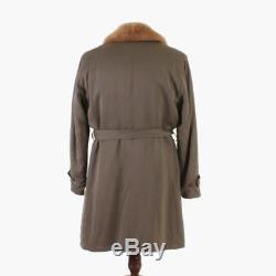 VTG 40s MEN'S Taupe Gabardine ALPACA Lined Fur Collar Belted Winter Coat M