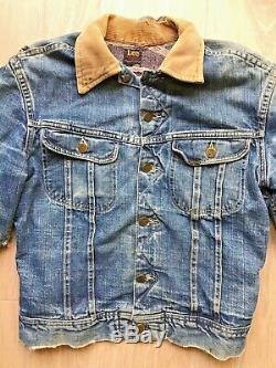 VTG 50s 1950s LEE 101-J Cowboy Denim Jacket Blanket Lined 36 SM