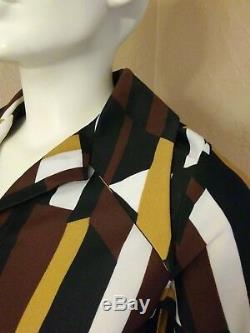 VTG 60's LANVIN Brown/Gold Abstract A-Line Swing Dress size 10