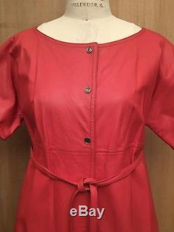 VTG 60s 70s Bonnie Cashin Sills Tangerine Leather Coat Belted Lined Mod GoGo S/M