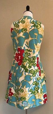 VTG 60s Geoffrey Beene Vibrant Abstract Floral A Line Scooter Dress Mod GOGO Med