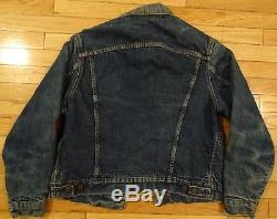 VTG 60s LEVI'S 557 BIG E Indigo Wool Blanket Lined #0 Denim Trucker Jacket S/M