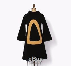 VTG 60s Mod Black & Camel Bold Graphic A-Line Dress