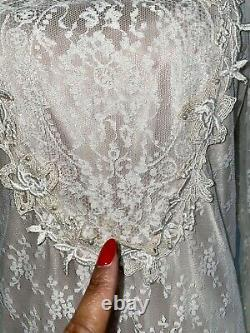 VTG 70s Embroidered Lace Fully Lined Ivory Victorian Prairie Bridal Dress