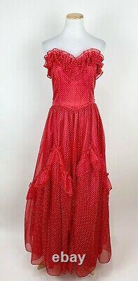 VTG 70s GUNNE SAX Red Gown S Swiss Dot Polka Dot Dress Ruffled Strapless Evening