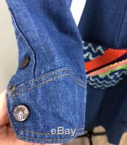 VTG 70s Landlubber Embroidered Pocket Denim A-line Shift Dress Medium Large