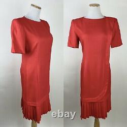 VTG 80s CAROLINA HERRERA Studio Tomato Red Sheath Dress XS Pleated Woven Chic