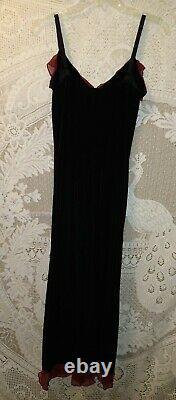 VTG 90's NWOT Black VELVET Betsy Johnson size large dress w beaded fringe