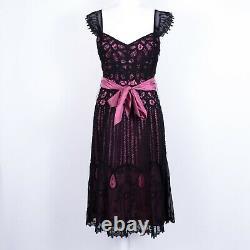 VTG 90s Betsey Johnson Cocktail Lace Overlay Dress Sweetheart Neck Black Pink 6