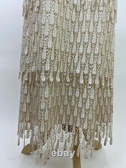 VTG 90s does 20s Tiered Cream Lace Wedding Dress 10 / M Maxi Stretch Teardrop