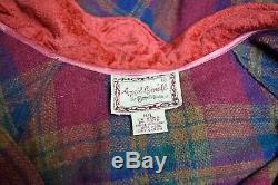 VTG April Cornell Wine Multi Plaid Aline Trapese SwingWool Coat Dress Size M/L