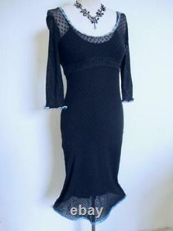VTG Betsey Johnson Stretch French Lace Dress S Floral Ribbon Trim Black Body Con