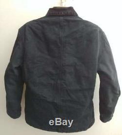 VTG Black Carhartt J02 J22 QUILT LINED barn artic CHORE Duck Jacket M/L 44