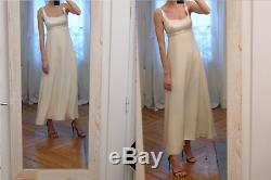 VTG Christian Dior ivory satin silk empire beaded romantic wedding swing dress