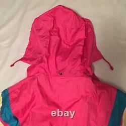 VTG Descente Womens One Piece Ski Suit Snow Bib Snowsuit Medium Pink Multi Color