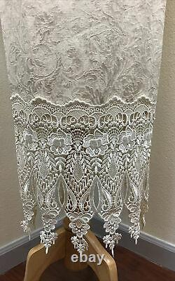 VTG Jessica McClintock 80s Formal Bridal Bolero Lace Brocade SZ 10 Ivory Dress