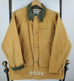 VTG LL Bean USA Size 42 Large Canvas Jacket Game Pouch Corduroy Ammo Pockets