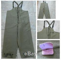VTG NOS WWII USN BIB DECK PANTS Wool Lined Button-Zip Stenciled NXsx51852 Lg