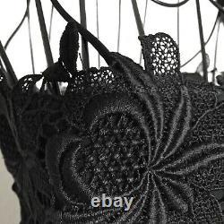 VTG Oscar de la Renta Black Lace Retro Bombshell Dress Fitted Lined Size 6