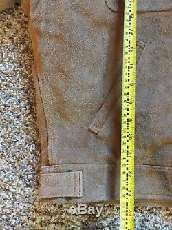 VTG Polo Ralph Lauren Suede Leather Jacket Mens M Beige Tan Coat Flannel Lined