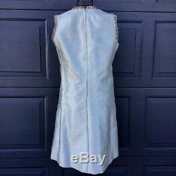 VTG Rare 1960s Gino Charles Rhinestone Beaded Dress Seafoam Green A Line 12