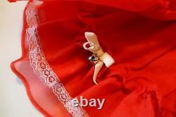 VTG Sweet n Sassy Red SS Sheer Full Circle Dress 2T EUC Lace LINED Bell Sash USA