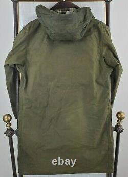 VTG UK BARBOUR BORDER Size 38 Medium Wax Jacket + Sherpa Vest + Hood Sage Green