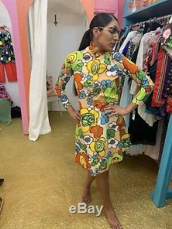 VTG Vintage 60s 1960's Psychedelic Flower Power Mod Tent A Line Zip Party Dress