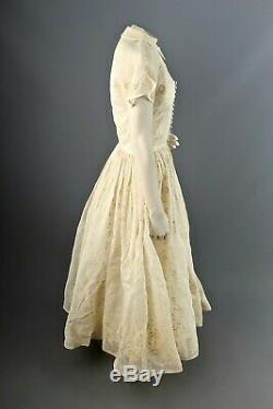 VTG Women's 40s Cream Formal Gown Sz XS 1940s A Line Dress