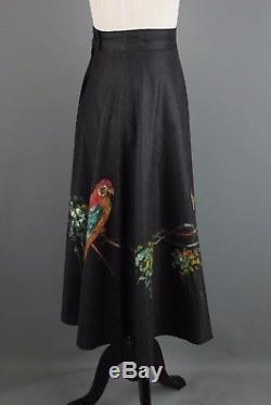 VTG Women's Charcoal Hand Painted Parrots Linen A-Line Skirt 1950s 50s #1758