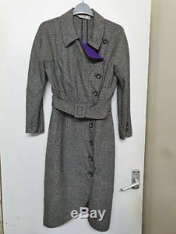 Valentino Vintage Wool Shirt Dress Size IT 40 Uk 6/8. Dogtooth Pattern
