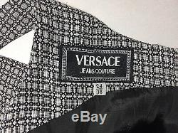 Versace J Couture Vintage'94 Dress Mini A-line Slim Sleeveless Italy Grey Check