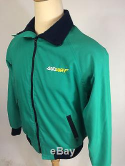 ViNtAgE 80s 90s Happy Golf Subway Coat Jacket Uniform M Teal Surf Lined Work