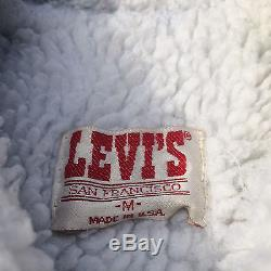 ViNtAgE Levis Acid Marble Wash Sherpa Lined Denim Jean CoAt JaCkEt S/XS Work